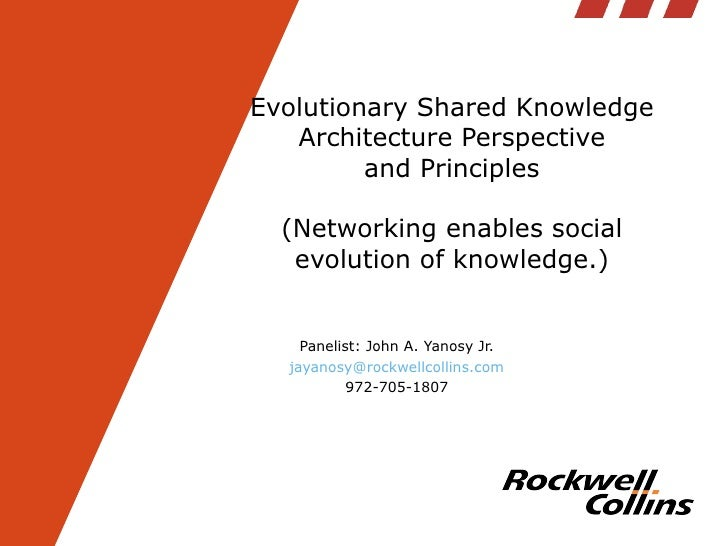 Evolutionary Shared Knowledge Architecture Perspective and Principles (Networking enables social evolution of knowledge.) ...