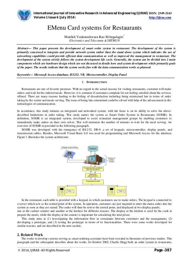 emenu card systems for restaurants