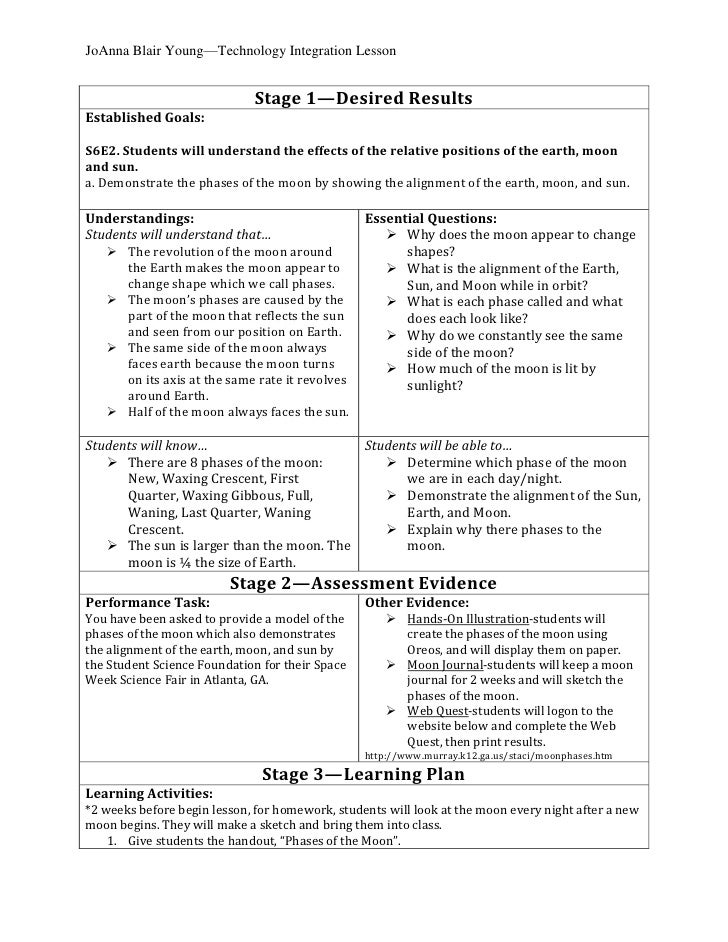 <ul><li>Stage 1—Desired ResultsEstablished Goals:S6E2. Students will understand the effects of the relative positions of t...