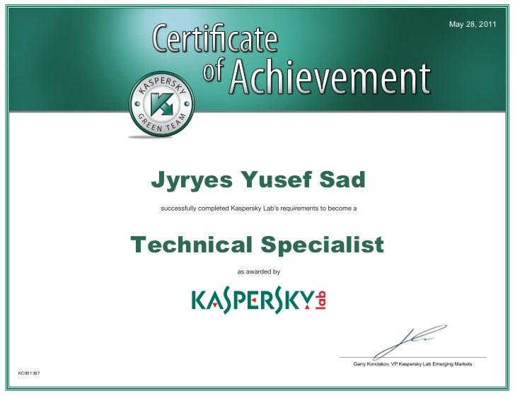 May 28, 2011            Jyryes Yusef Sad           Technical SpecialistKC001387