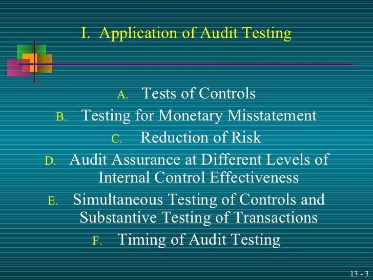 the document that details the specific audit procedures for each type of test is the