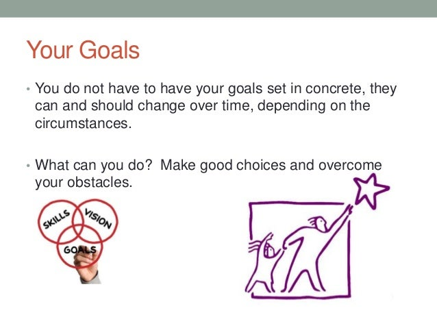 Your Goals • You do not have to have your goals set in concrete, they can and should change over time, depending on the ci...