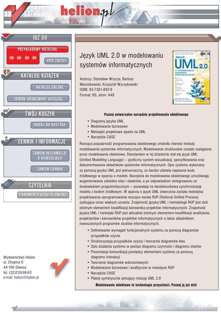 IDZ DO          PRZYK£ADOWY ROZDZIA£                                          Jêzyk UML 2.0 w modelowaniu                 ...