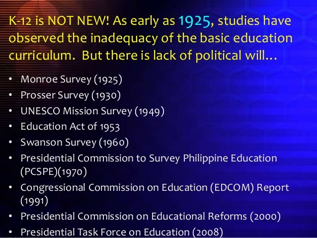 "research about k 12 in the philippines Pros & cons in the k+12 basic ""enhancing the quality of basic education in the philippines is don't worry k-12 will improve your research."
