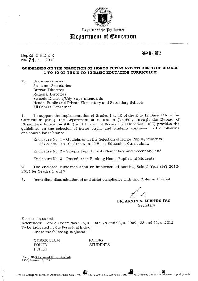 iliepuhlit at Il)B'iBI)l'IlIJ[Jl'1IB§  Zmpartment of Qfihuzatiun     DepEd ORDER 959352912 No.   ,  s.  2012  GUIDELINES ON...