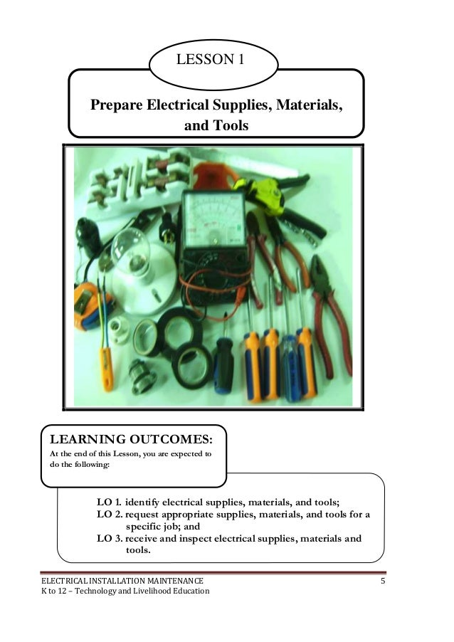 ELECTRICAL INSTALLATION MAINTENANCE 4 K To 12 Technology And Livelihood Education 6