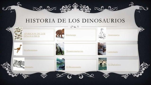 HISTORIA DE LOS DINOSAURIOS APARICION DE LOS DINOSAURIOS Triceratops Anatosaurus Struthiomimus Tyrannosaurus rex Carnotaur...