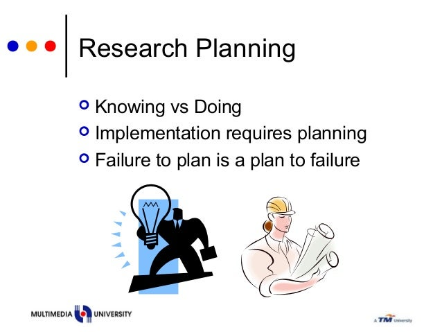 Research Planning  Knowing vs Doing  Implementation requires planning  Failure to plan is a plan to failure