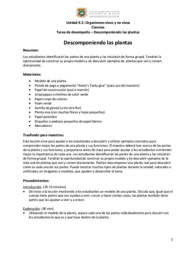 K.5 tarea de desempeño descomponiendo las plantas
