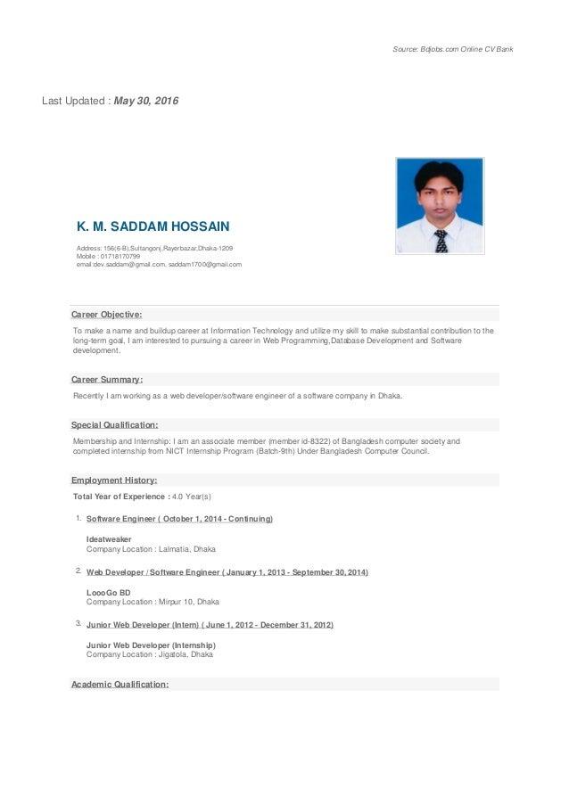 Source: Bdjobs.com Online CV Bank Last Updated : May 30, 2016 K. M. SADDAM HOSSAIN Address: 156(6-B),Sultangonj,Rayerbazar...