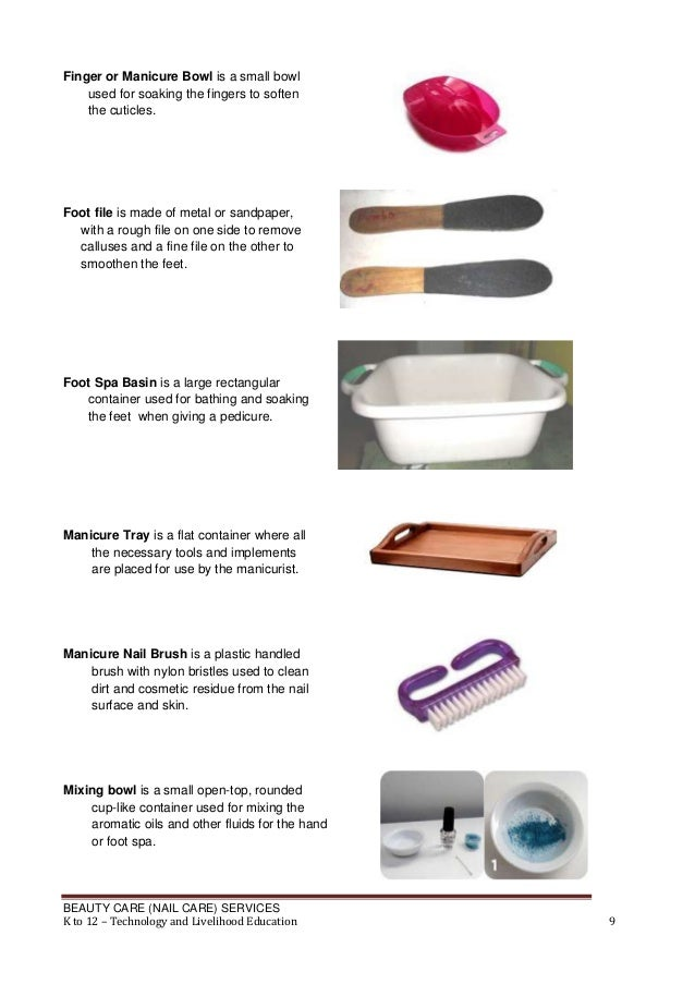 Finger or Manicure Bowl is a small bowl used for soaking the fingers to soften the cuticles.  Foot file is made of metal o...
