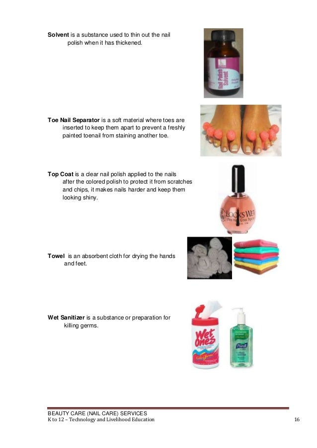 Solvent is a substance used to thin out the nail polish when it has thickened.  Toe Nail Separator is a soft material wher...