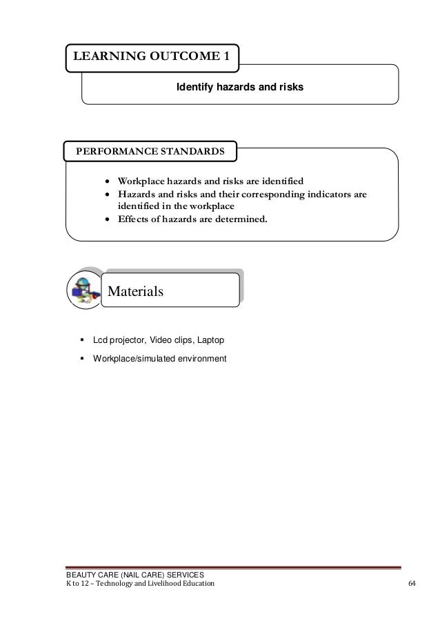 LEARNING OUTCOME 1 Identify hazards and risks  PERFORMANCE STANDARDS  Workplace hazards and risks are identified  Hazard...