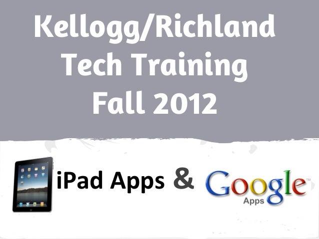 Kellogg/Richland Tech Training Fall 2012 iPad Apps &