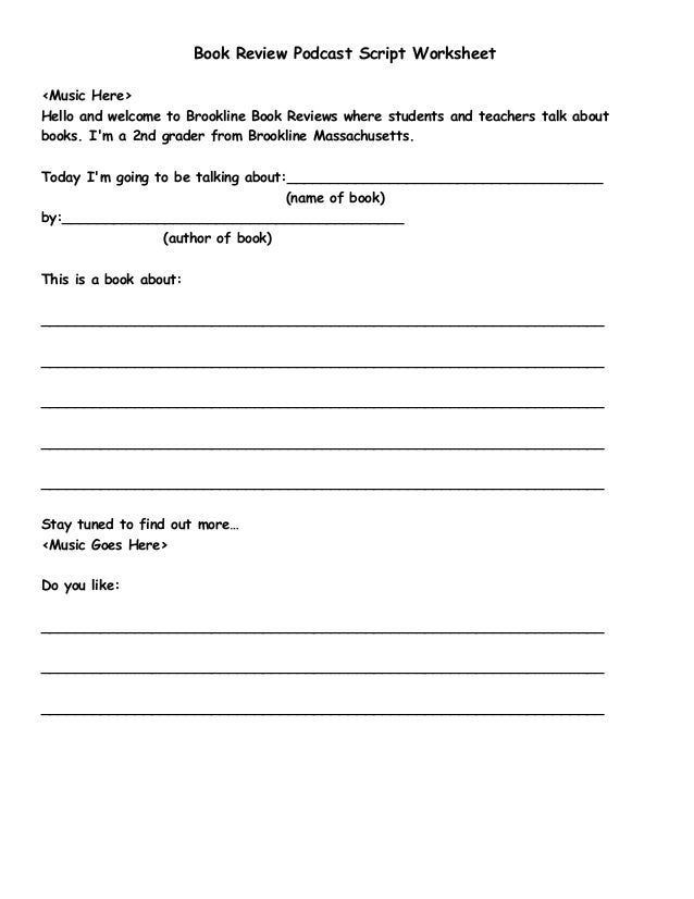 K 5 book review script worksheet for Podcast template script