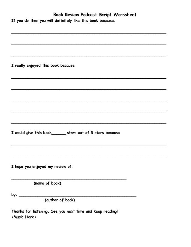 K 5bookreviewscriptworksheet – Book Review Worksheet