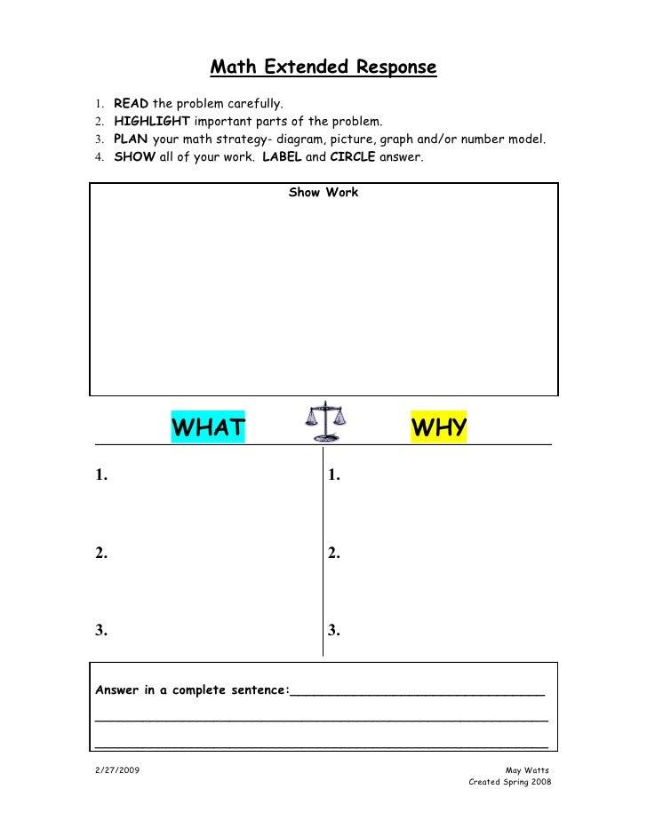 K 5 Math Extended Response Poster 4 22 08