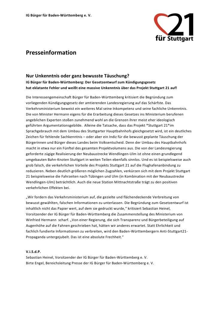 IG Bürger für Baden-Württemberg e. V.PresseinformationNur Unkenntnis oder ganz bewusste Täuschung?IG Bürger für Baden-Würt...