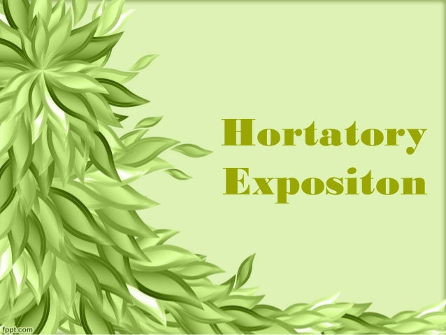 example of hortatory exposition
