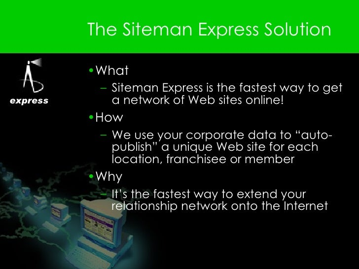 The Siteman Express Solution <ul><li>What  </li></ul><ul><ul><li>Siteman Express is the fastest way to get a network of We...