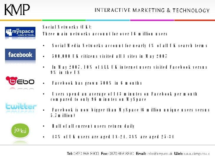 <ul><li>Social Networks (UK): </li></ul><ul><li>Three main networks account for over 16 million users </li></ul><ul><li>So...