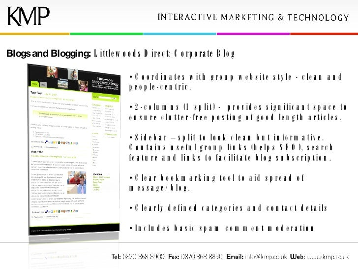 Blogs and Blogging:  Littlewoods Direct: Corporate Blog <ul><li>Coordinates with group website style - clean and people-ce...
