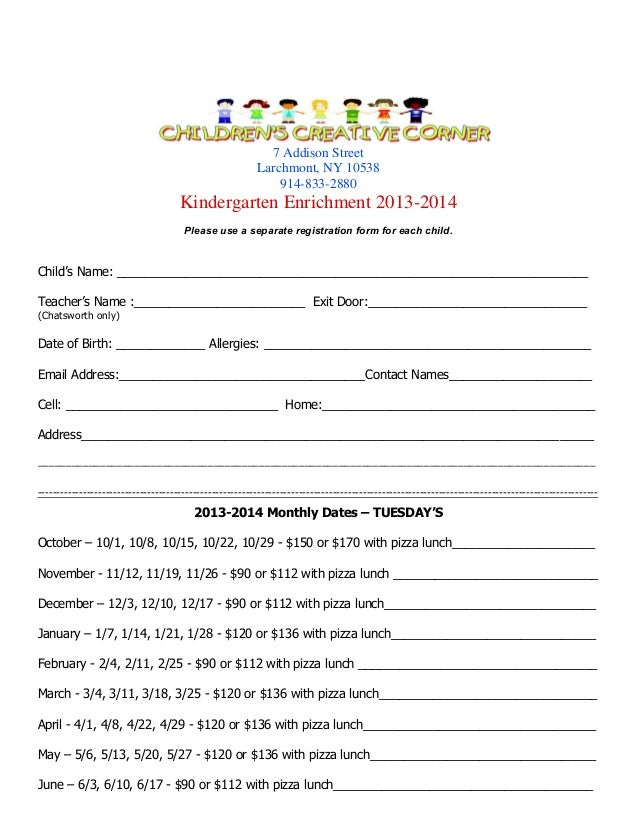 Kindergarten program registration form for tuesday for Course enrolment form template