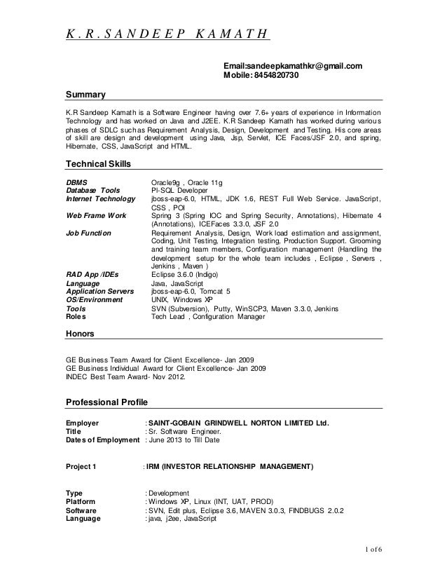 sample resume for java j2ee developer 516573 core java sample resume