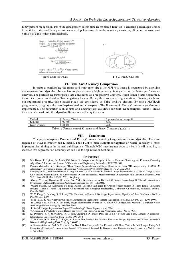 A Review On Brain Mri Image Segmentation Clustering Algorithm DOI: 10.9790/2834-11128084 www.iosrjournals.org 83   Page fu...