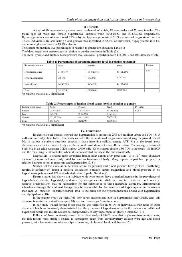 Study of lipid profile, serum magnesium and blood glucose ...