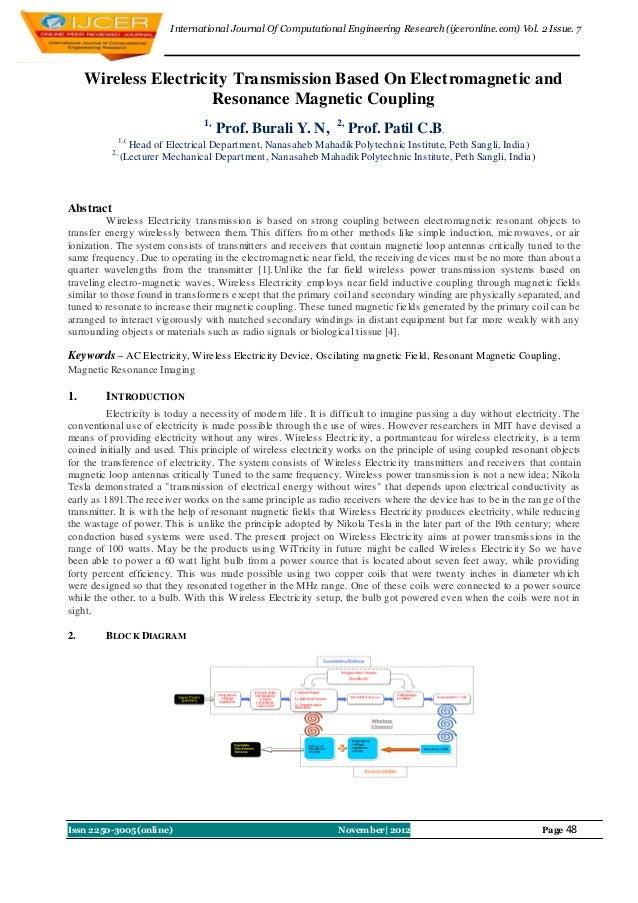 I nternational Journal Of Computational Engineering Research (ijceronline.com) Vol. 2 Issue. 7     Wireless Electricity Tr...