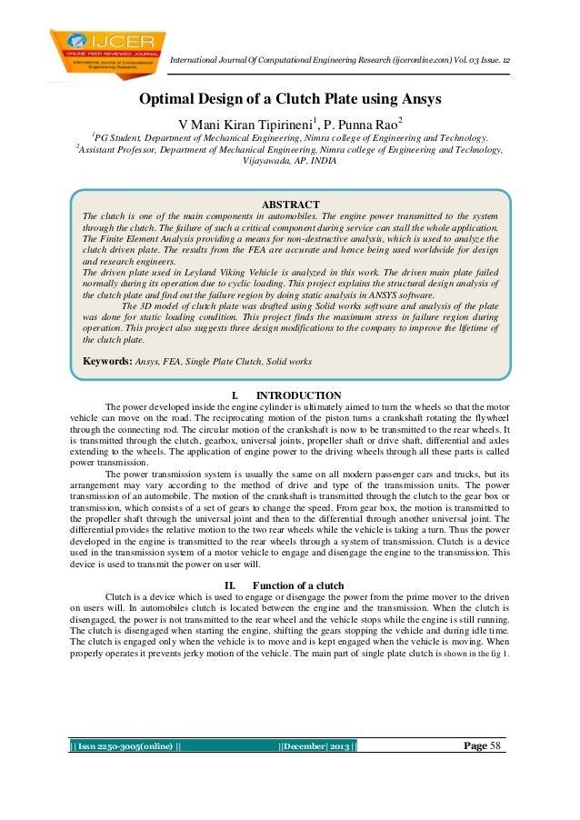 International Journal Of Computational Engineering Research (ijceronline.com) Vol. 03 Issue. 12  Optimal Design of a Clutc...