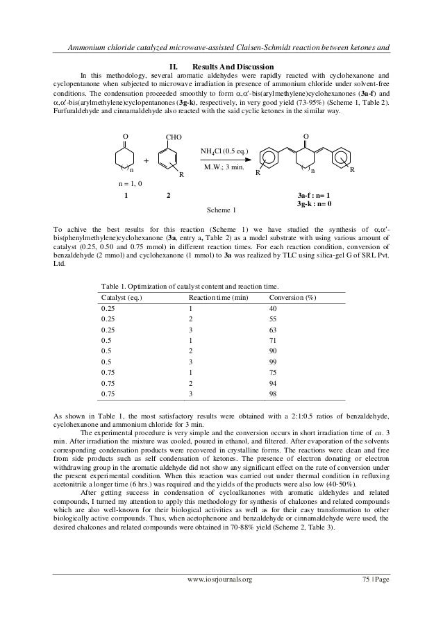 Ammonium chloride catalyzed microwave-assisted Claisen-Schmidt reaction between ketones and                               ...