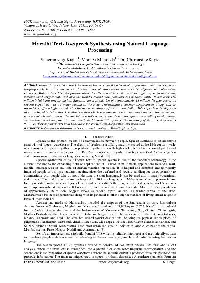 IOSR Journal of VLSI and Signal Processing (IOSR-JVSP) Volume 5, Issue 6, Ver. I (Nov -Dec. 2015), PP 63-67 e-ISSN: 2319 –...