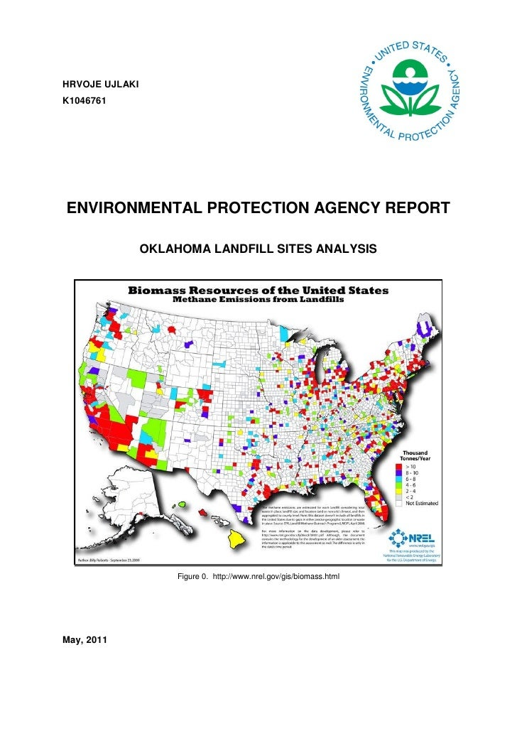 HRVOJE UJLAKIK1046761ENVIRONMENTAL PROTECTION AGENCY REPORT                OKLAHOMA LANDFILL SITES ANALYSIS               ...