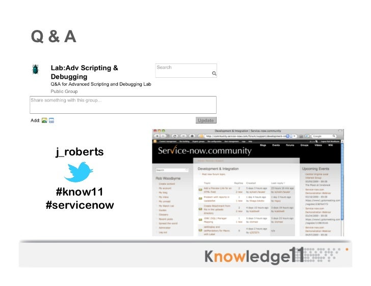 ServiceNow Knowledge11 Advanced Scripting & Debugging Lab