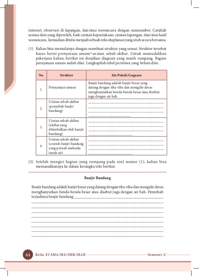 buku k13 kelas XI SMA semester 2 bahasa indonesia