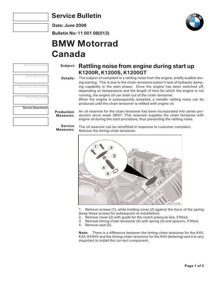 k1200 timing chain tensioner attachment service bulletin. Black Bedroom Furniture Sets. Home Design Ideas
