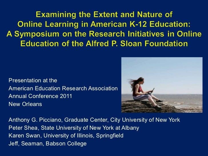 <ul><li>Presentation at the  </li></ul><ul><li>American Education Research Association </li></ul><ul><li>Annual Conference...