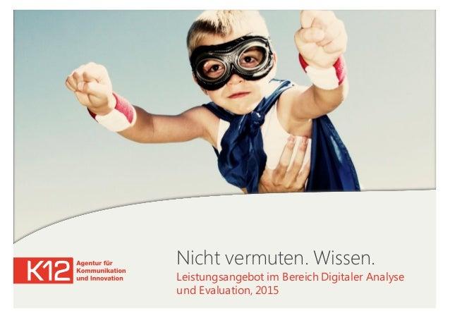 Nicht vermuten. Wissen. Leistungsangebot im Bereich Digitaler Analyse und Evaluation, 2015