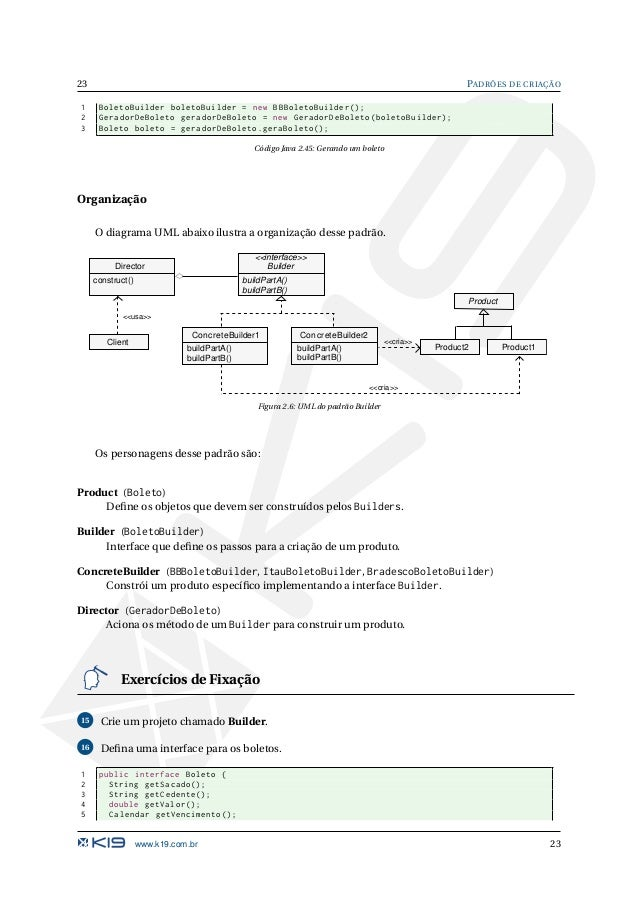 PADRÕES DE CRIAÇÃO 24 6 int getNossoNumero (); 7 String toString (); 8 } Código Java 2.46: Boleto.java 17 Defina a classe B...