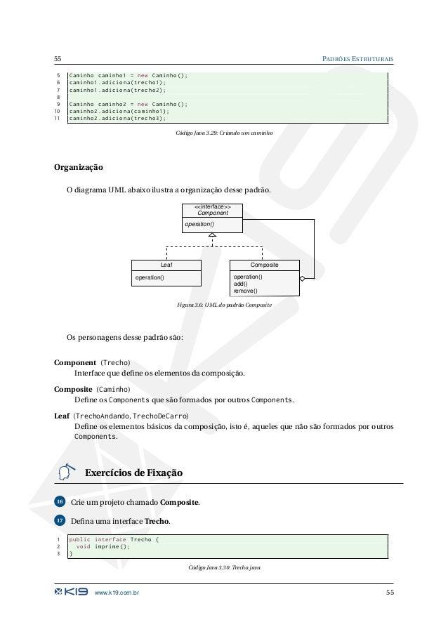 PADRÕES ESTRUTURAIS 56 18 Defina as classes que implementam a interface Trecho. 1 public class TrechoAndando implements Tre...