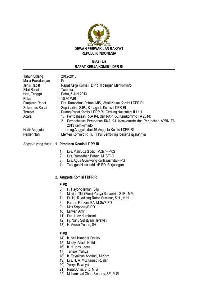 risala rapat kerja komisi i dpr ri dengan menteri