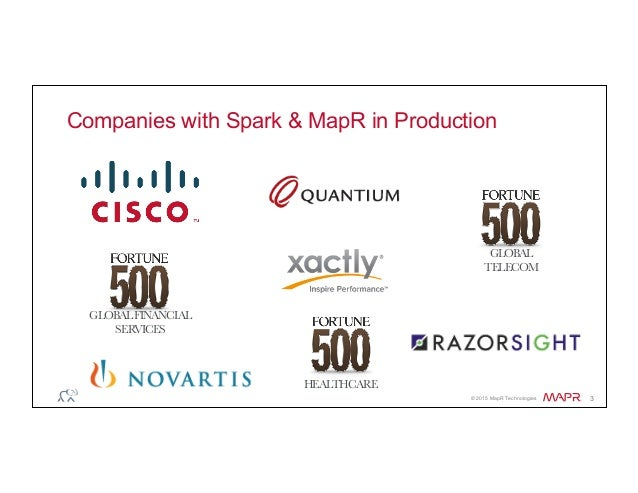 ® © 2015 MapR Technologies 3 Companies with Spark & MapR in Production GLOBAL TELECOM HEALTHCARE GLOBALFINANCIAL SERVICES