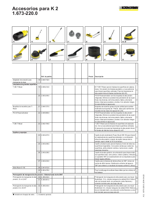 Manual accesorios hidrolimpiadora K2 de Karcher