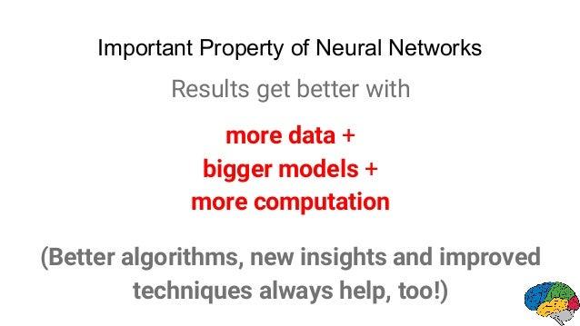 Important Property of Neural Networks Results get better with more data + bigger models + more computation (Better algorit...