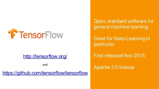 Open, standard software for general machine learning Great for Deep Learning in particular First released Nov 2015 Apache ...