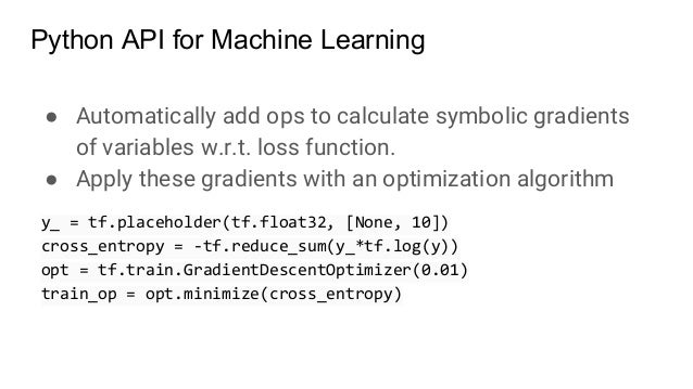 ● Automatically add ops to calculate symbolic gradients of variables w.r.t. loss function. ● Apply these gradients with an...