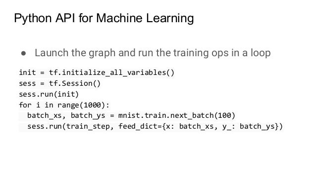 ● Launch the graph and run the training ops in a loop init = tf.initialize_all_variables() sess = tf.Session() sess.run(in...