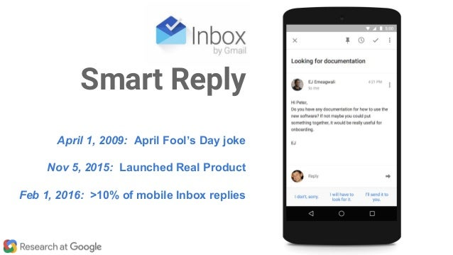 April 1, 2009: April Fool's Day joke Nov 5, 2015: Launched Real Product Feb 1, 2016: >10% of mobile Inbox replies Smart Re...